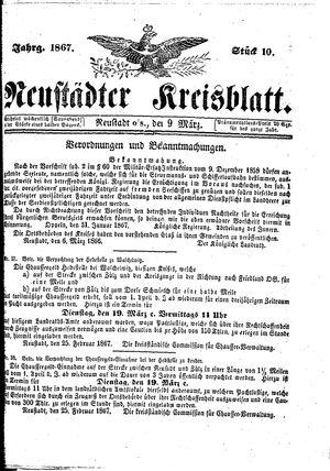Neustädter Kreisblatt vom 09.03.1867
