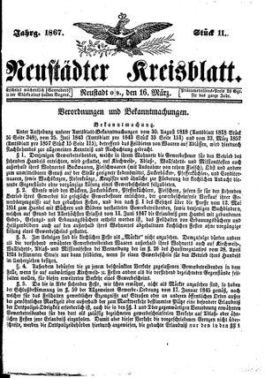 Neustädter Kreisblatt vom 16.03.1867