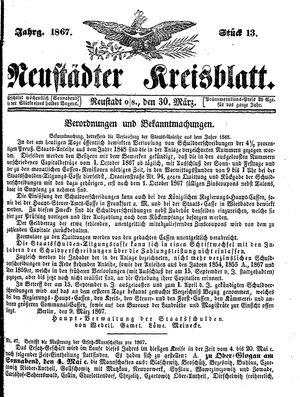Neustädter Kreisblatt vom 30.03.1867