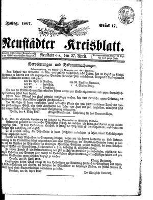 Neustädter Kreisblatt vom 27.04.1867