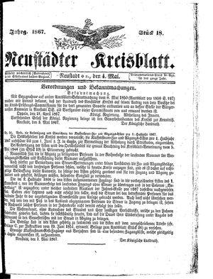 Neustädter Kreisblatt vom 04.05.1867