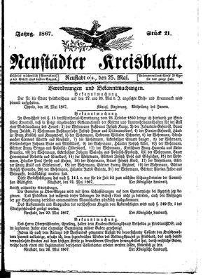 Neustädter Kreisblatt vom 25.05.1867