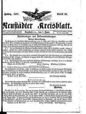Neustädter Kreisblatt vom 01.06.1867