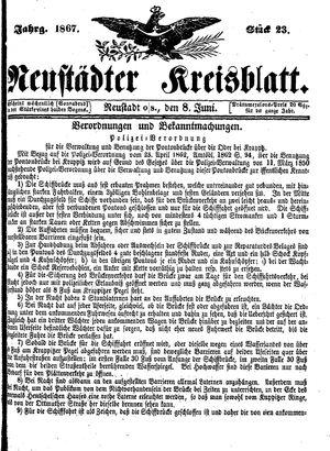 Neustädter Kreisblatt vom 08.06.1867