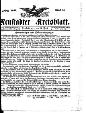 Neustädter Kreisblatt vom 15.06.1867