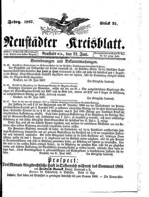 Neustädter Kreisblatt vom 22.06.1867