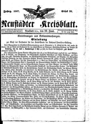 Neustädter Kreisblatt vom 29.06.1867