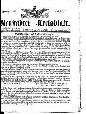 Neustädter Kreisblatt on Jul 6, 1867