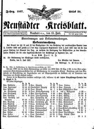 Neustädter Kreisblatt vom 13.07.1867
