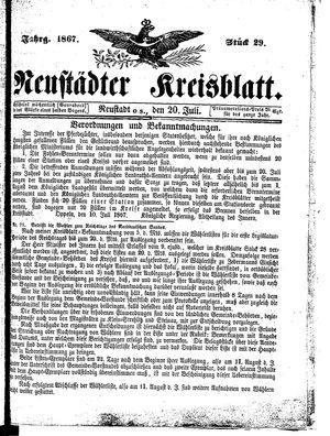 Neustädter Kreisblatt on Jul 20, 1867