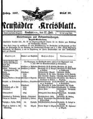 Neustädter Kreisblatt vom 27.07.1867