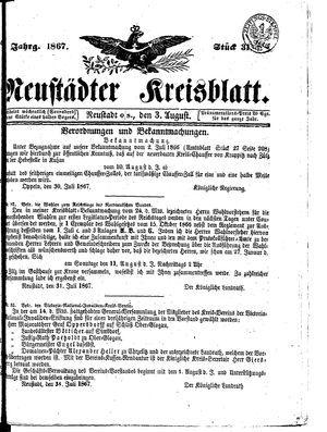 Neustädter Kreisblatt vom 03.08.1867