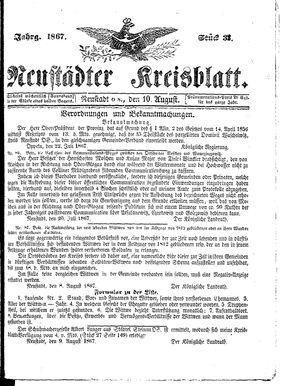 Neustädter Kreisblatt vom 10.08.1867