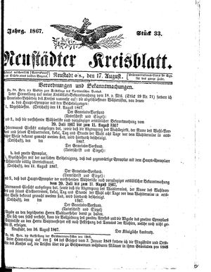 Neustädter Kreisblatt vom 17.08.1867