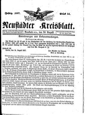 Neustädter Kreisblatt vom 24.08.1867
