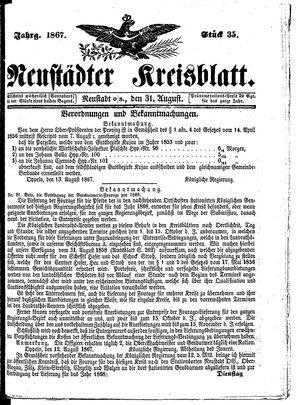 Neustädter Kreisblatt on Aug 31, 1867