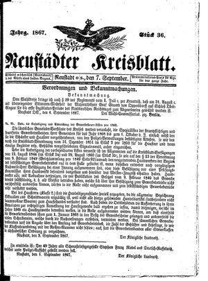 Neustädter Kreisblatt vom 07.09.1867