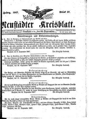 Neustädter Kreisblatt vom 14.09.1867