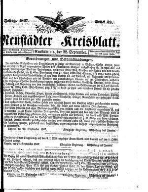 Neustädter Kreisblatt vom 28.09.1867