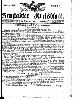 Neustädter Kreisblatt vom 05.10.1867