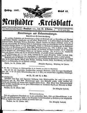 Neustädter Kreisblatt vom 19.10.1867