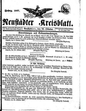 Neustädter Kreisblatt vom 26.10.1867