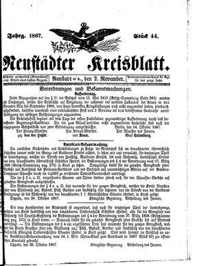 Neustädter Kreisblatt vom 02.11.1867