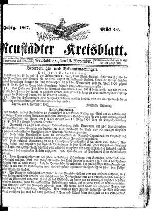 Neustädter Kreisblatt vom 16.11.1867
