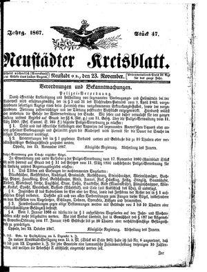 Neustädter Kreisblatt vom 23.11.1867