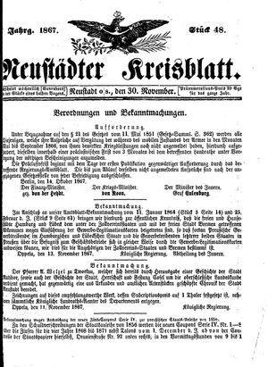 Neustädter Kreisblatt vom 30.11.1867