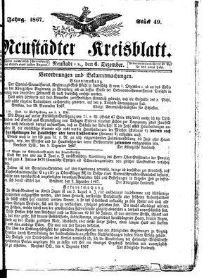 Neustädter Kreisblatt vom 06.12.1867