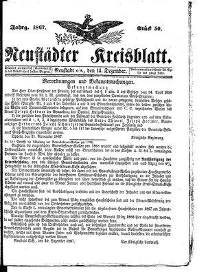 Neustädter Kreisblatt vom 14.12.1867