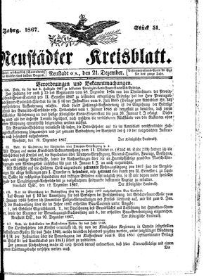 Neustädter Kreisblatt vom 21.12.1867