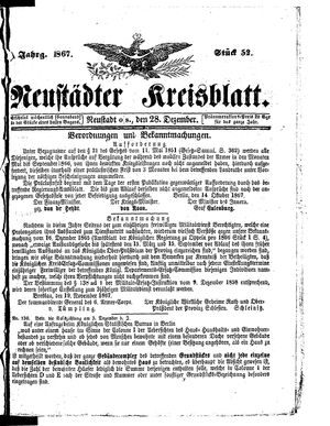 Neustädter Kreisblatt vom 28.12.1867