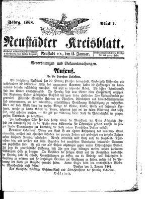 Neustädter Kreisblatt vom 11.01.1868
