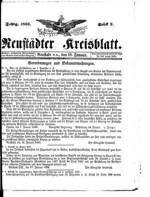 Neustädter Kreisblatt vom 18.01.1868