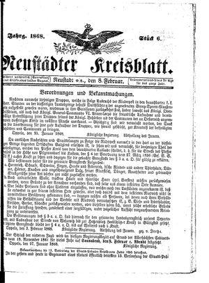 Neustädter Kreisblatt vom 08.02.1868