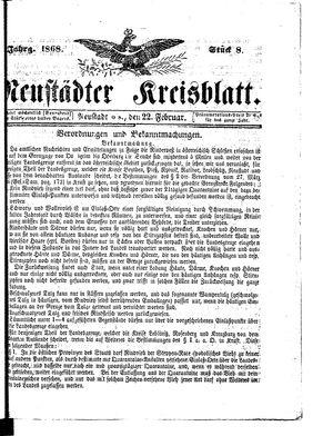 Neustädter Kreisblatt vom 22.02.1868
