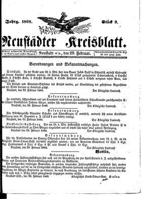 Neustädter Kreisblatt vom 29.02.1868