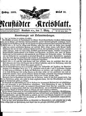 Neustädter Kreisblatt vom 07.03.1868