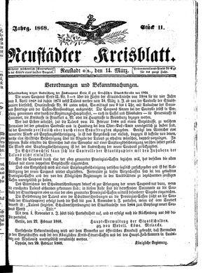 Neustädter Kreisblatt vom 14.03.1868