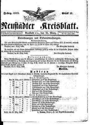 Neustädter Kreisblatt vom 21.03.1868