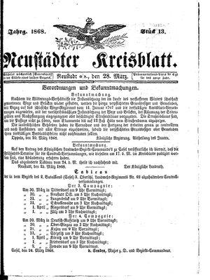 Neustädter Kreisblatt on Mar 28, 1868