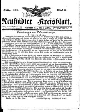 Neustädter Kreisblatt vom 04.04.1868