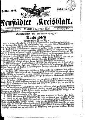 Neustädter Kreisblatt vom 02.05.1868