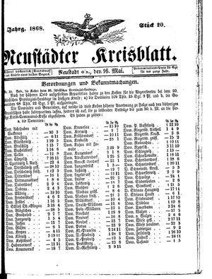 Neustädter Kreisblatt vom 16.05.1868