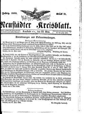 Neustädter Kreisblatt vom 23.05.1868