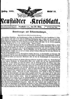 Neustädter Kreisblatt vom 30.05.1868