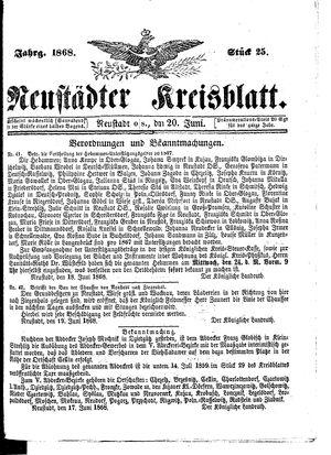 Neustädter Kreisblatt vom 20.06.1868