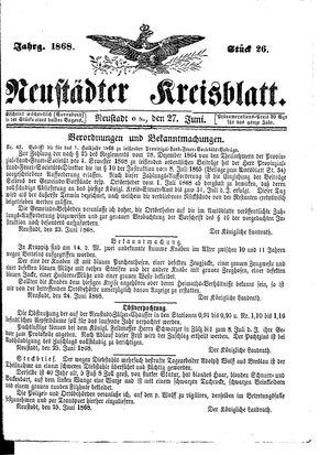 Neustädter Kreisblatt vom 27.06.1868